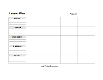 Lesson Plan Template Horizontal Teachers Printable Printables - Printable blank lesson plan template