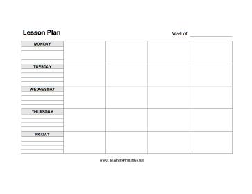 Lesson Plan Template Horizontal Teachers Printable Printables - Printable blank lesson plan template