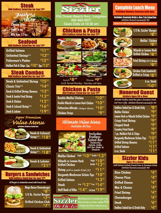 1980's Sizzler menu listings | Menu for Sizzler