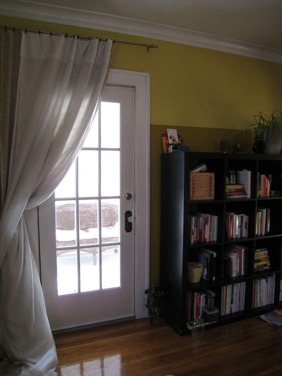 To curtain off patio door to save cooling costs...w/ thermal ...