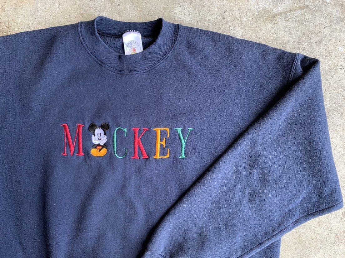 Mickey Mouse Sweater Vintage 1990s Embroidered Disney Land 90s Cartoon Crewneck Vtg Spell Ou Disney Sweatshirts Disney Crewneck Sweatshirt Embroidered Crewneck [ 828 x 1104 Pixel ]
