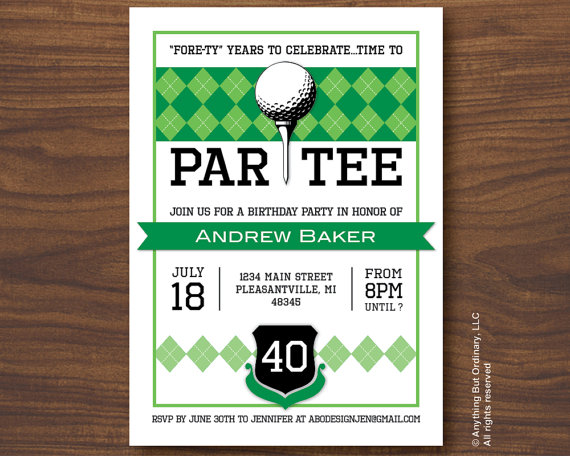 Golf Birthday Invitations Printable ParTEE Invite Theme Fore Ty Years Party Inv