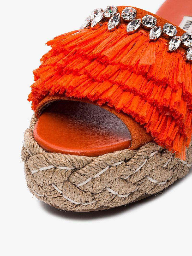crystal fringed 45 flatform tie up sandals Miu Miu JkaYmhb