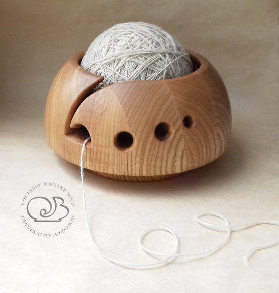 Yarn bowl Wooden bowl Knitting bowl Yarn holder Crochet bowl Knitting storage Rustic wood bowl Knitting organizer Gift for knitter Nan gift #crochetbowl