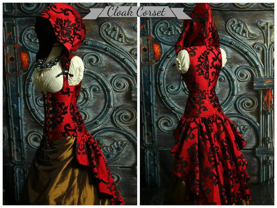 custom fit to you cloak vixen corset with huge ruffle and hood pirate lolita inspirations. Black Bedroom Furniture Sets. Home Design Ideas