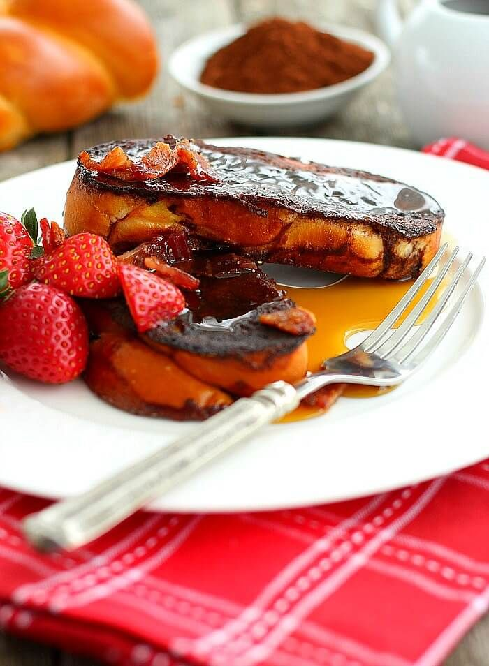 Chocolate French Toast with Candied Bacon is a special delicious treat that takes no time to make and can even be made healthy. Check it out.