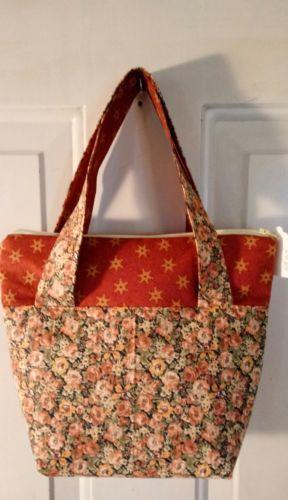 Ladies-Handbag-Purse-Pocketbook-NEW-Zippered-Top-BROWN-FLORAL-Print-HB07