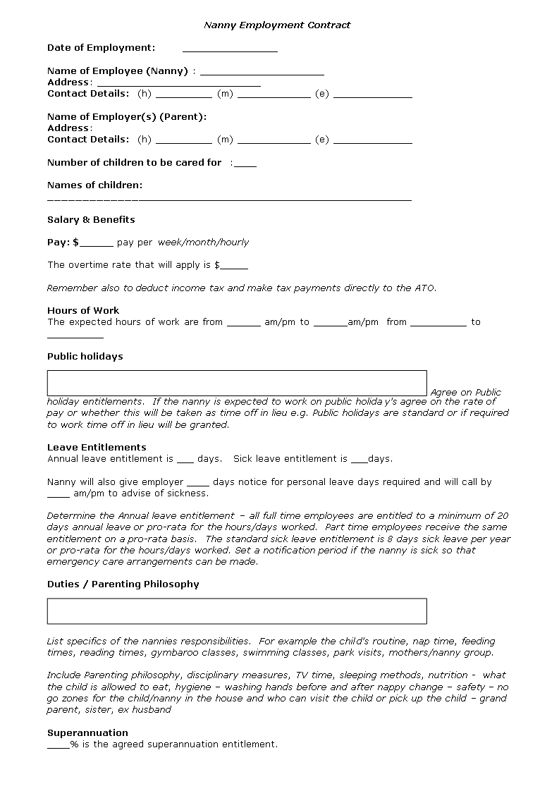 nanny contract template nanny agreement template