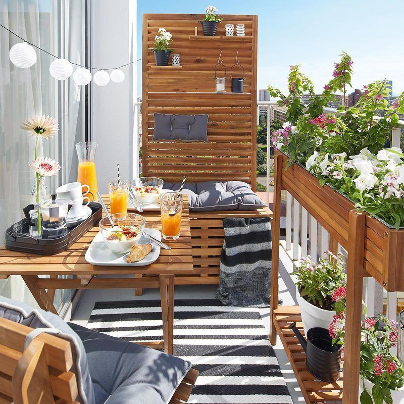 Sichtschutz Bank Akazienholz 100 FSC®-zertifiziert natur ca L80 - kleinen garten gestalten sichtschutz