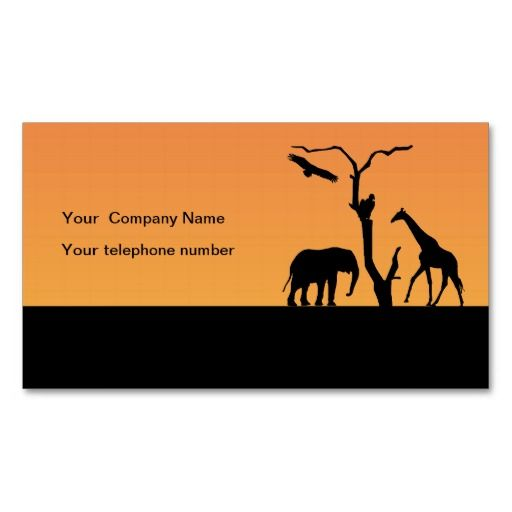 Elephant silhouette african custom business card business cards elephant and giraffe silhouette sunset in africa business cards click image to change text both front and back to suit your requirements colourmoves