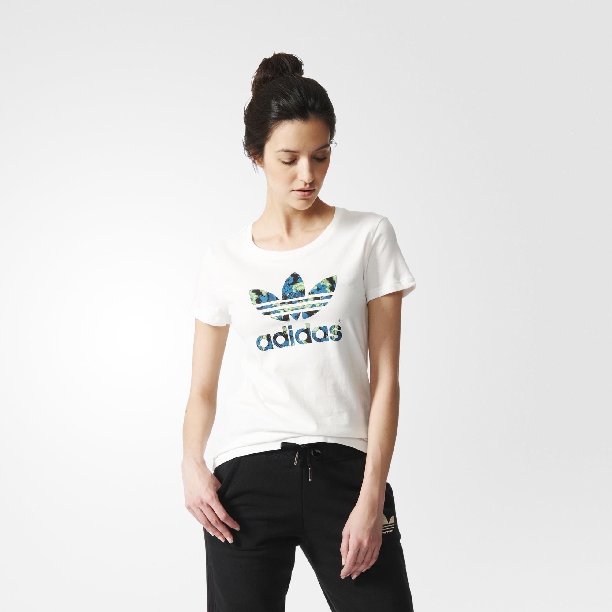 adidas Playera Originals Trifolio Mujer - White   adidas ...
