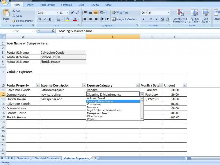 Excel Property Management Spreadsheet Business Templates - excel spreadsheet template expenses