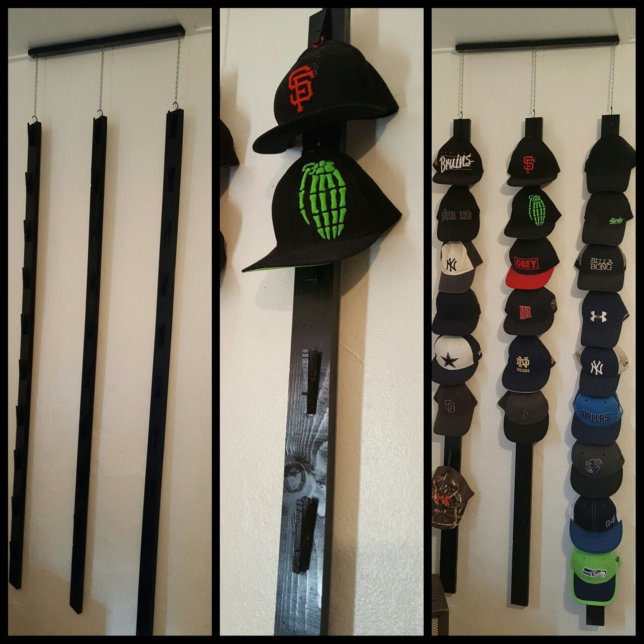 Homemade Hat Rack Holds 30 Hats Made With Clothes Pins