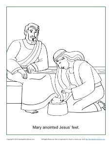 Mary Anoints Jesus Feet Coloring Page Sunday School Coloring