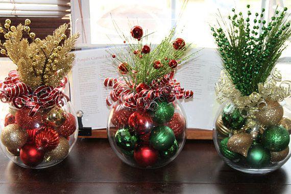 christmas centerpiece, set of four, christmas centerpieces