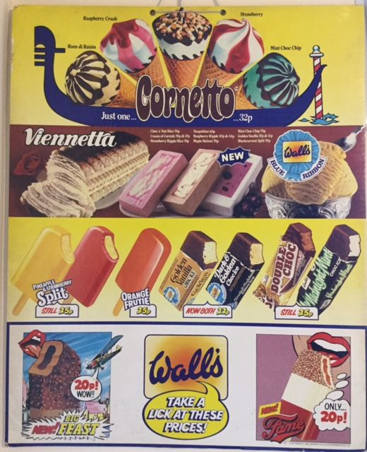 Wall Advertising Card From 1983 Walls Ice Cream Retro Sweets