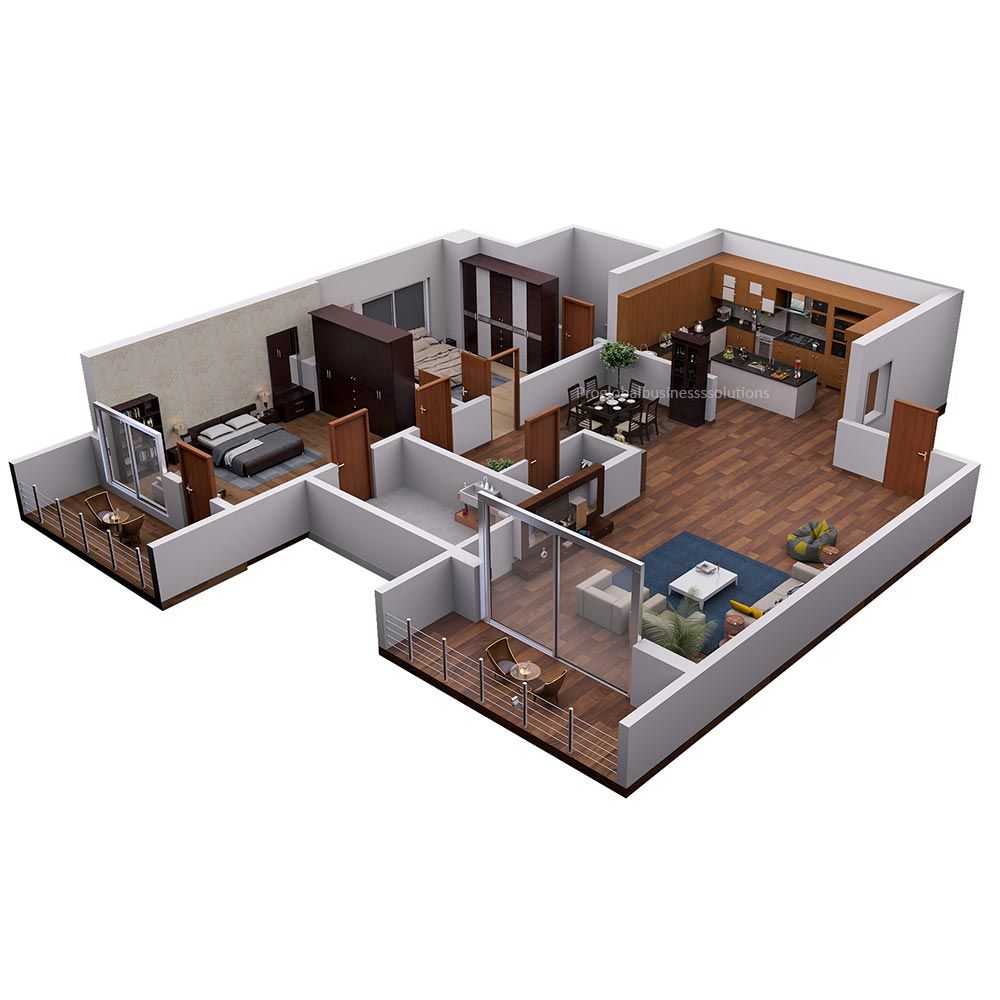 3d Floor Plan Isometric View Of A Modern Private House Visit Our Portfolio For More Samples Rendered Floor Plan Floor Plan Design Floor Plans