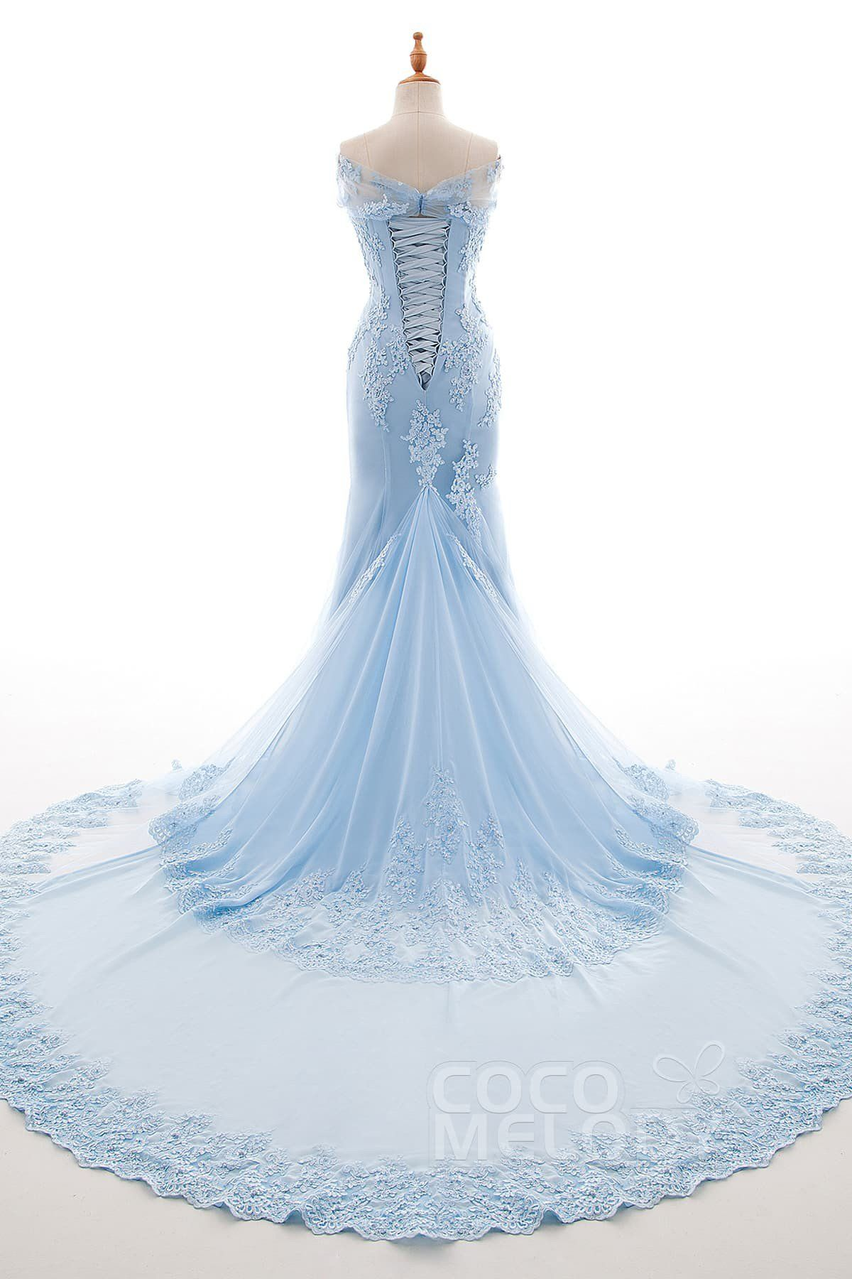 Trumpet-Mermaid Chapel Train Tulle and Chiffon Wedding Dress LD4240 ...