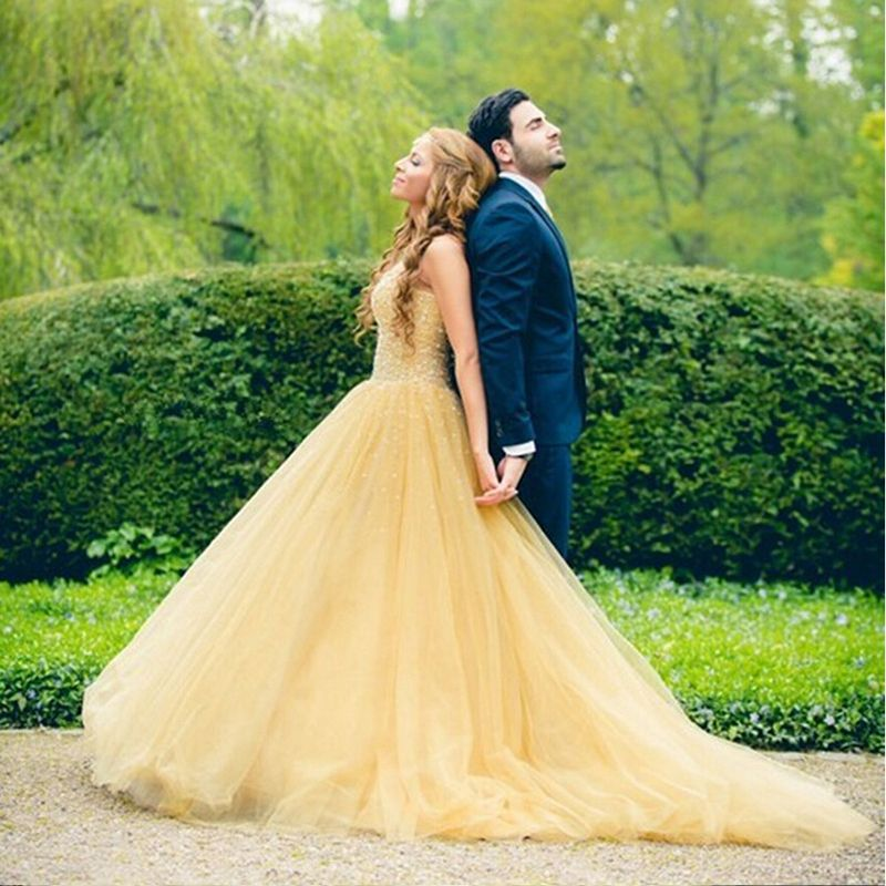 Amazing Yellow Wedding Dress Handmade Beaded Bridal Gown 2016 A Line Vestido De Noiva Stunning Crystal Louisvuigon Gowns In Dresses From
