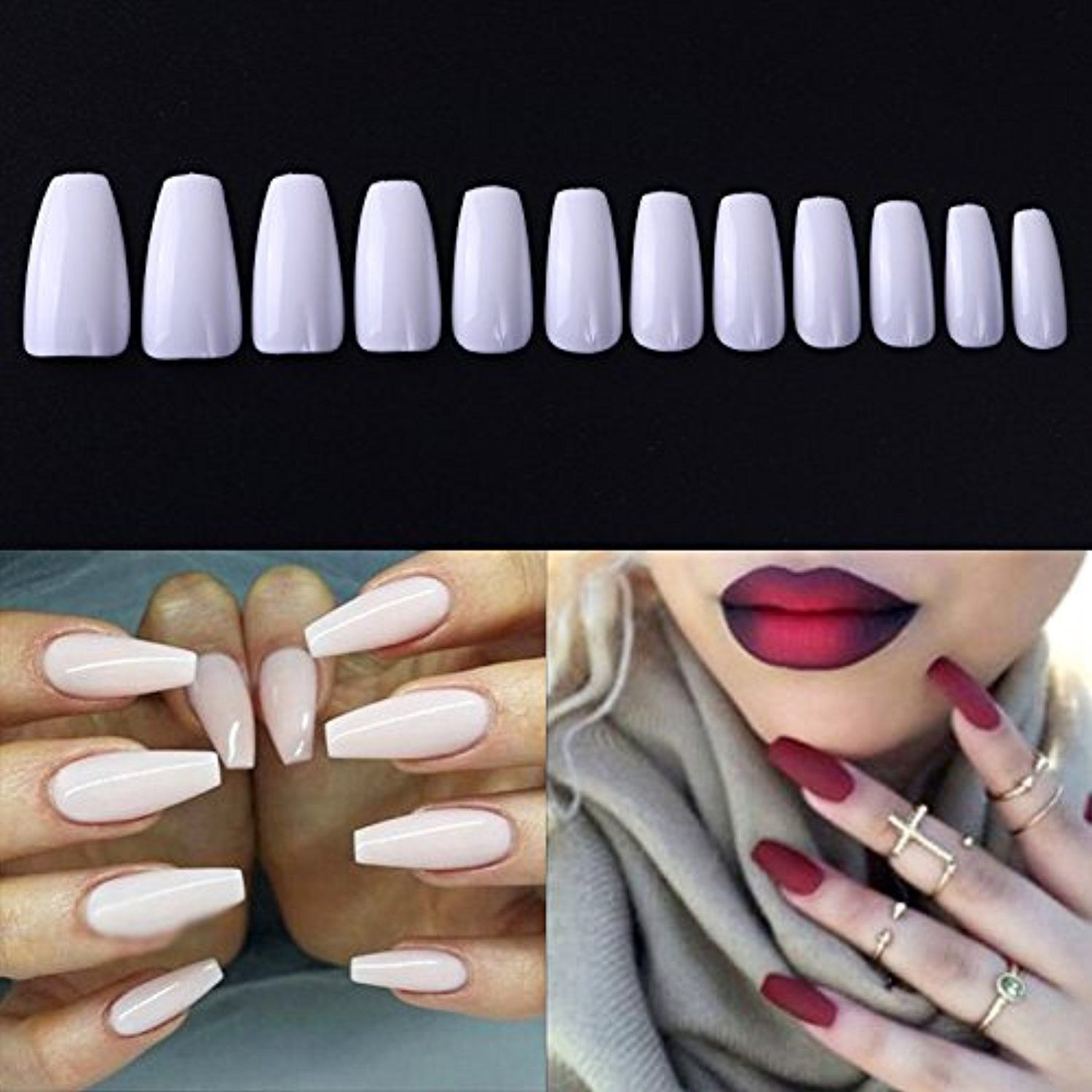 NICOLE DIARY 600Pcs Coffin Nails Long Ballerina Fake Nail Tips ...