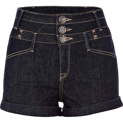 dark denim etta basque high waisted shorts denim shorts