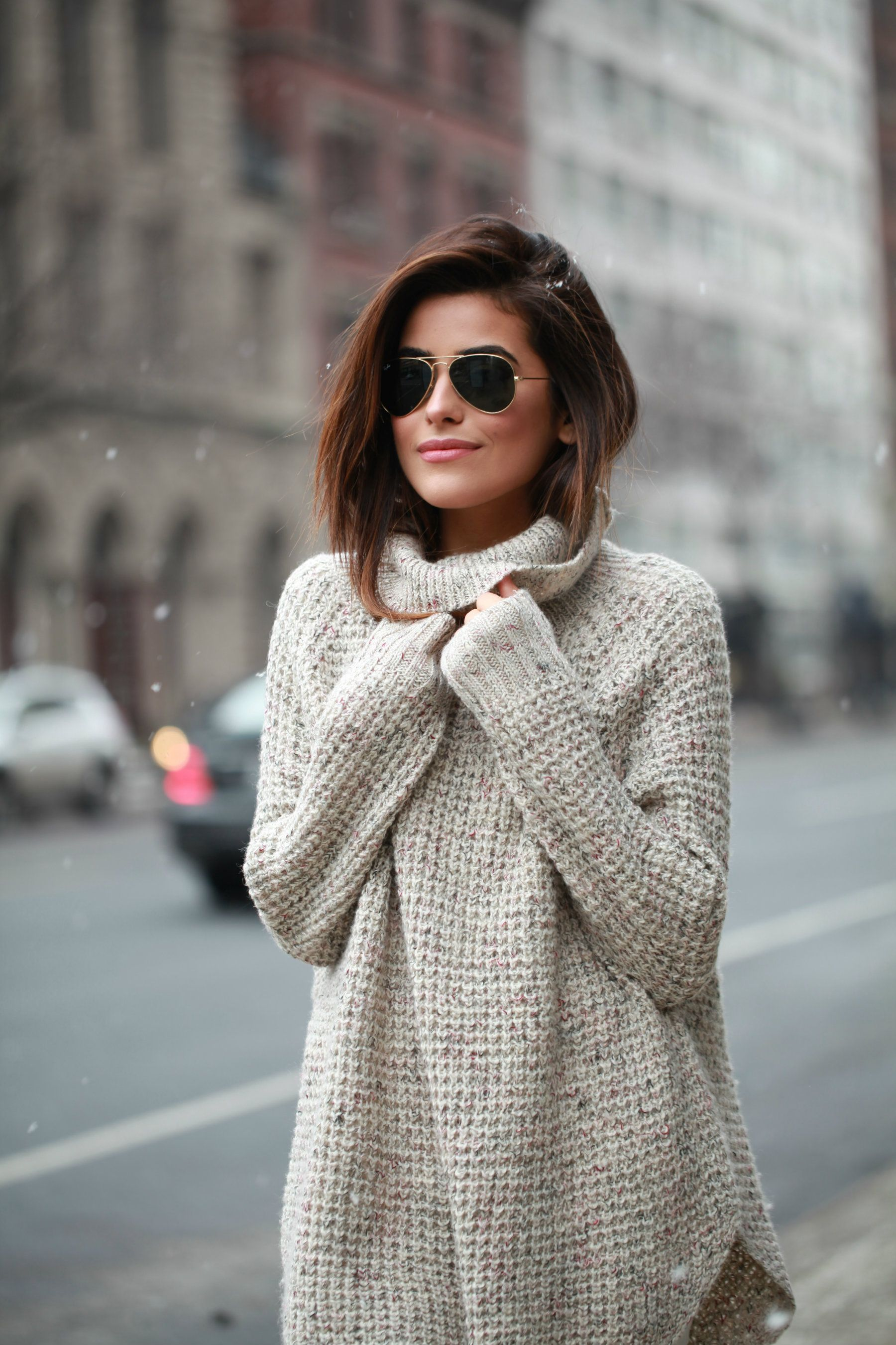 waffle knit turtleneck sweater// | Fashion | Pinterest | Ray ban ...