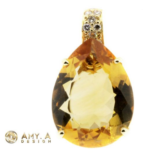 14K Solid Yellow Gold Pendant with Diamond & by braxjewelers, $525.00