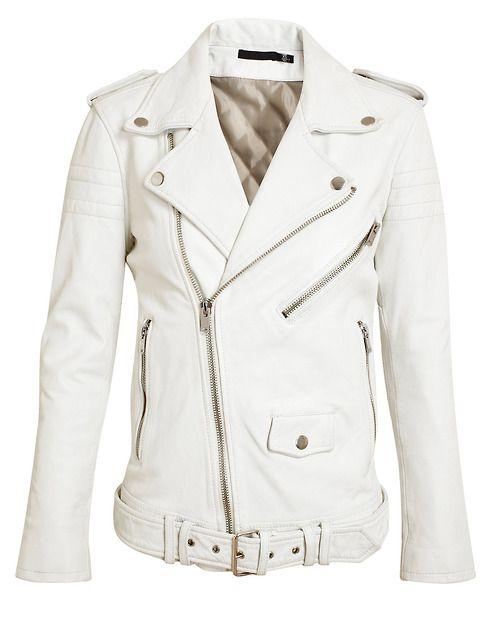 White Leather Biker Jacket