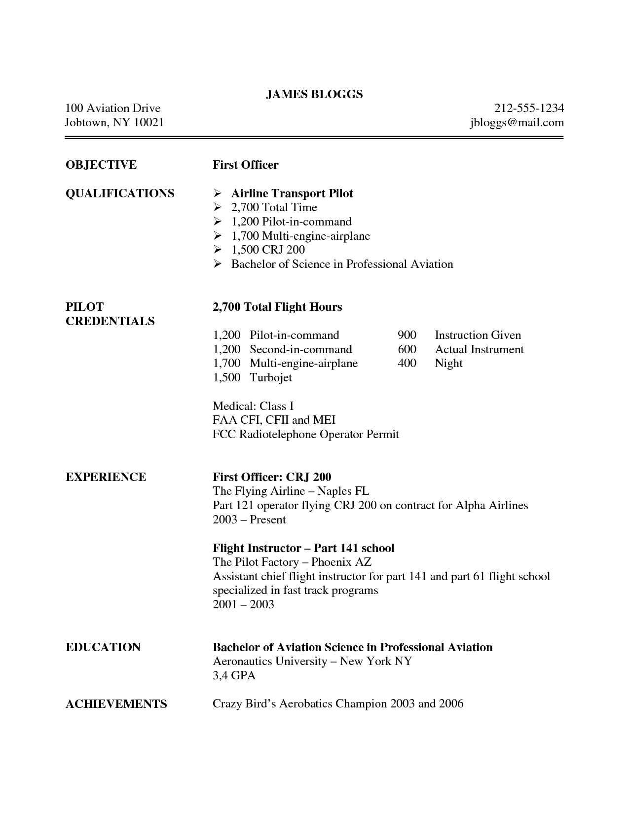 Professional Pilot Resume Professional Pilot Resume
