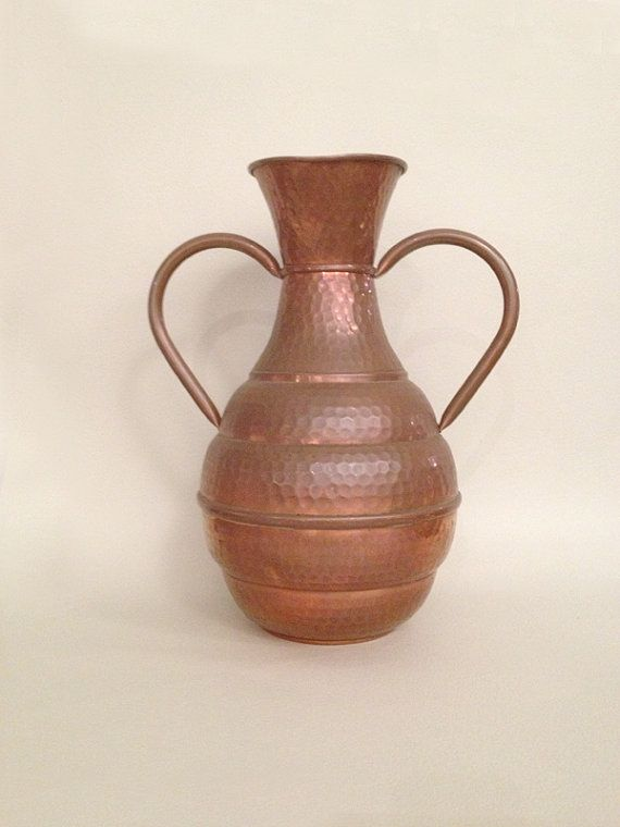 French Vintage Hammered Copper Vase With Two Handles Hammered Copper Vases Copper Vase French Vintage