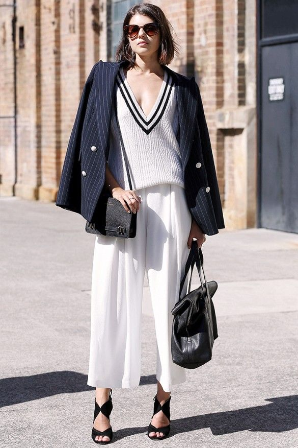 How to Style Your Stripes Like an East Coast Girl via @WhoWhatWear