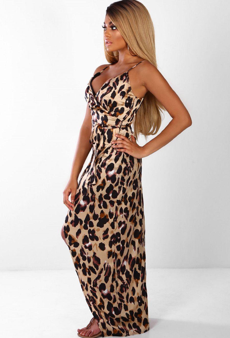 e217ab33300 Wild Thing Brown Leopard Print Satin Wrap Maxi Dress - 8