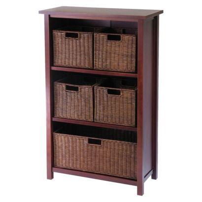 169 Target 4 Tier Storage Shelf with 5 Baskets Walnut