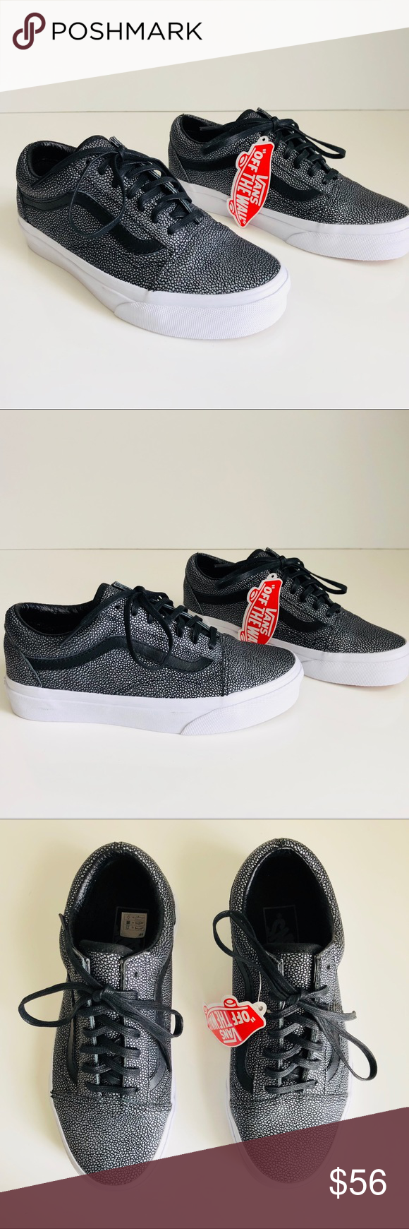 4c5b42aaed8ec3 Vans Old Skool Embossed Stingray Black •Embossed stingray leather upper  •Textile lining •Rubber sole •Black laces and logo •Women 5