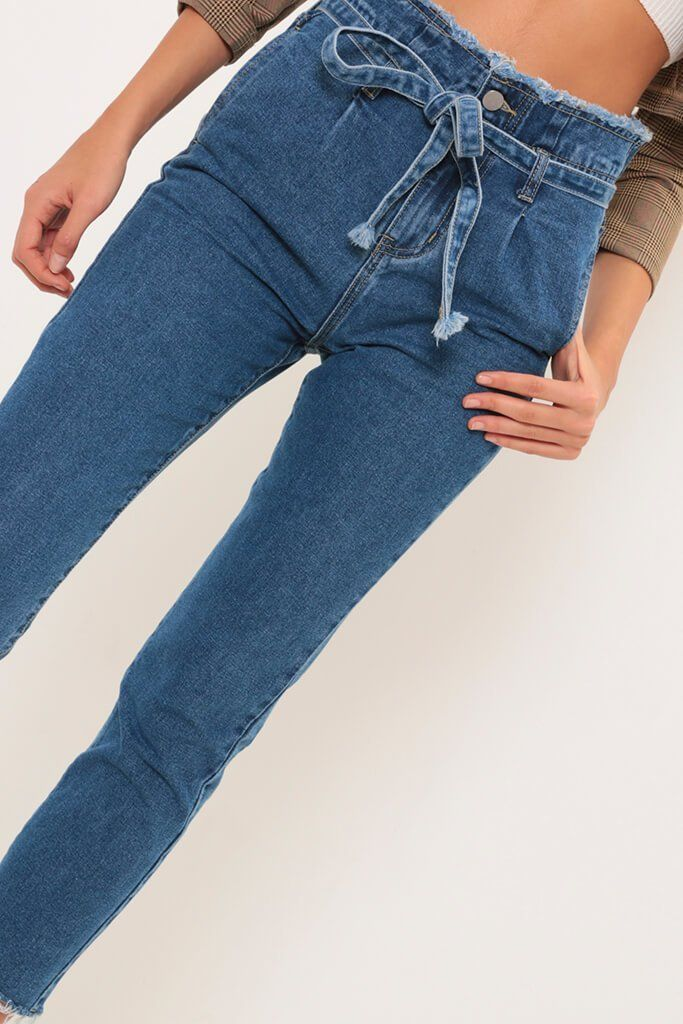 available fashion styles outlet Blue high waisted frayed belt mom jeans   Clothes   Mom ...