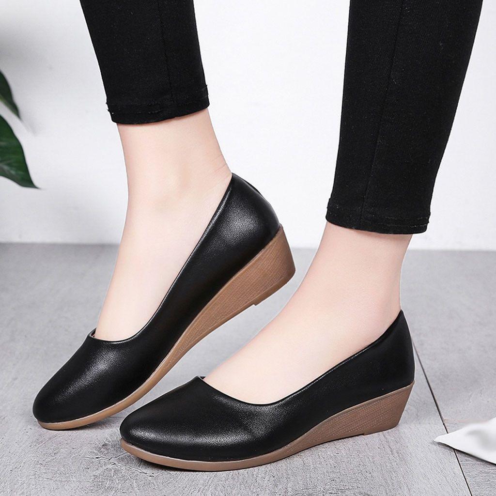 Chaussures Plates Polyvalentes pour Femmes Chaussures de Grande Taille /À Fond Souple Casual Chaussures de Couleur Unie 35-44