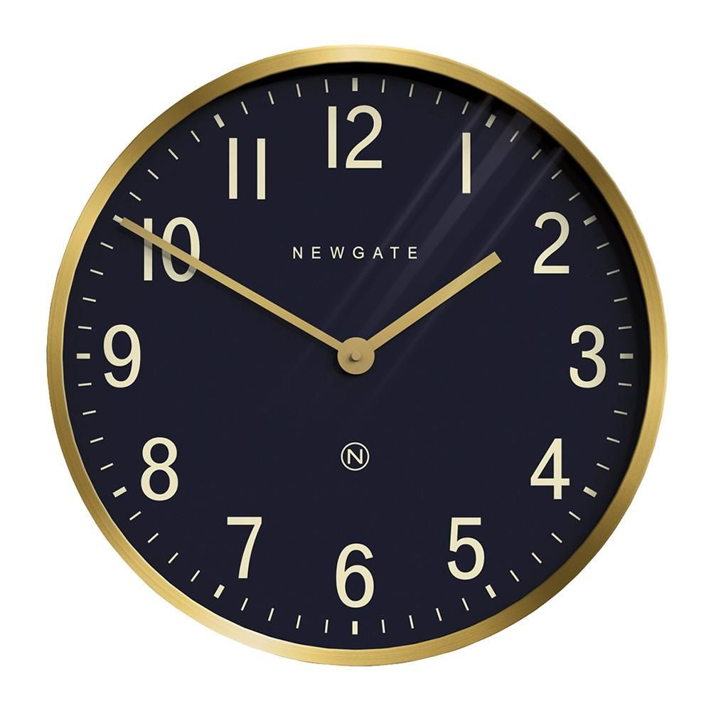 Mr Edwards Wall Clock In Radial Brass With Navy Face Wall Clock Modern Newgate Clocks Wall Clock