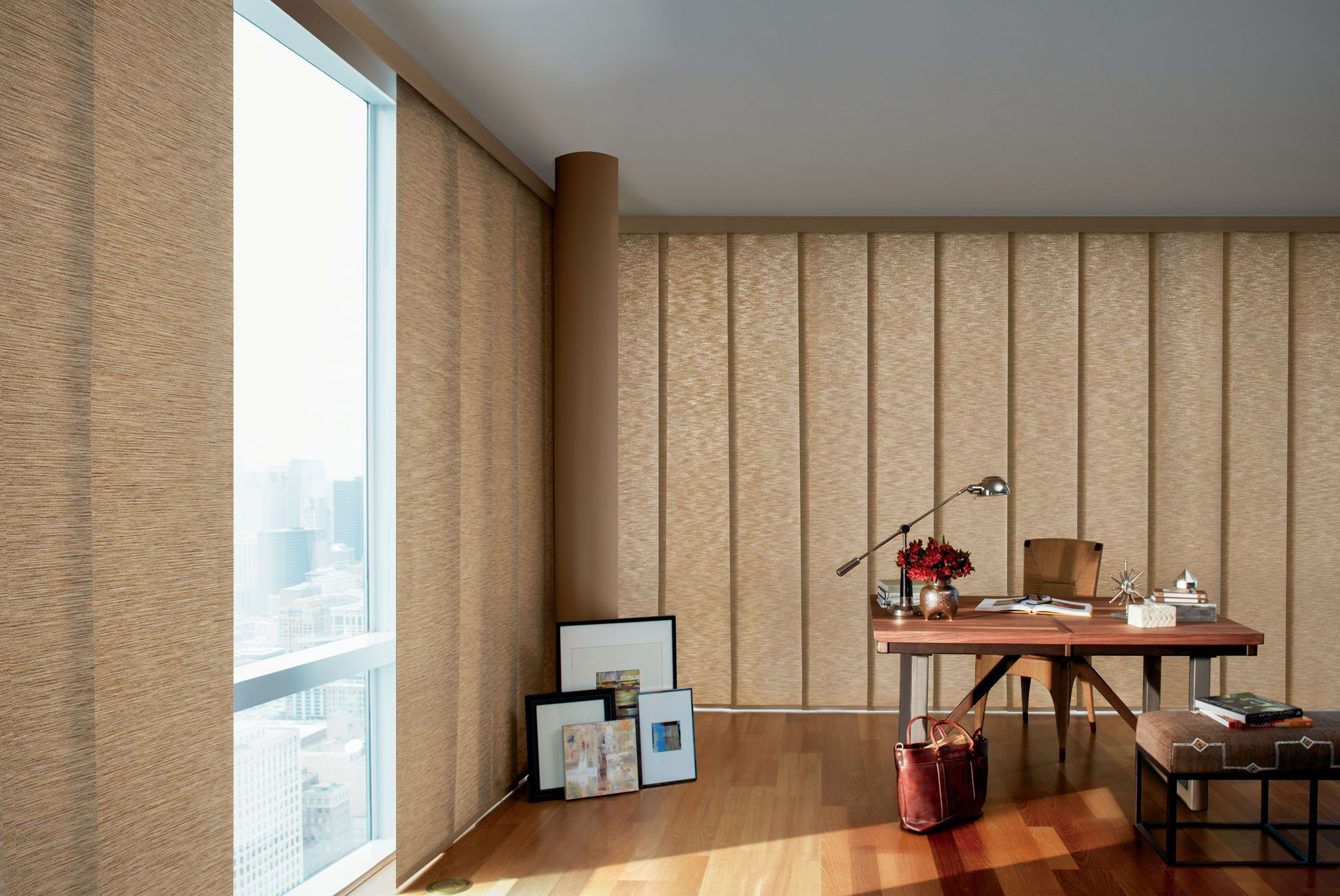Skyline Gliding Window Panels With Umstead Persimmon In Home