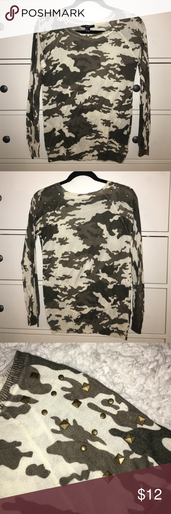 Camo print sweater Long sleeve lightweight camo print sweater with bronze metal studded shoulder details. Pairs well with some leggings or simple skinny jeans. Forever 21 Sweaters Crew & Scoop Necks