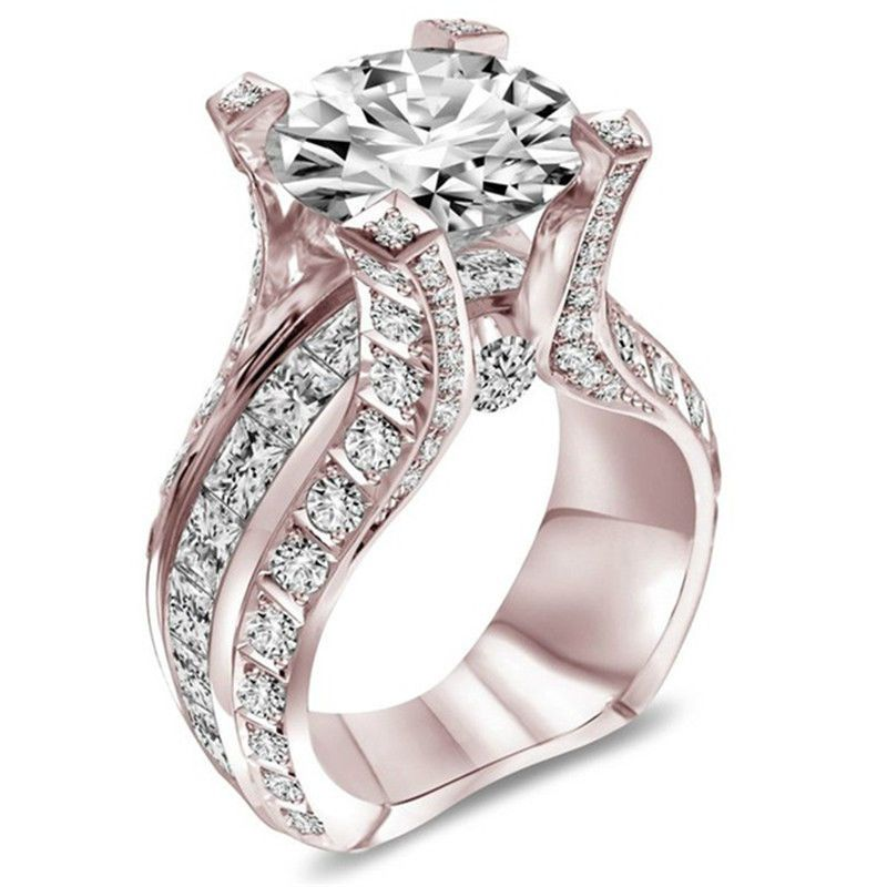 Fashion Rose Gold Filled Women/'s Wedding Rings Round Cut White Sapphire Size6-10