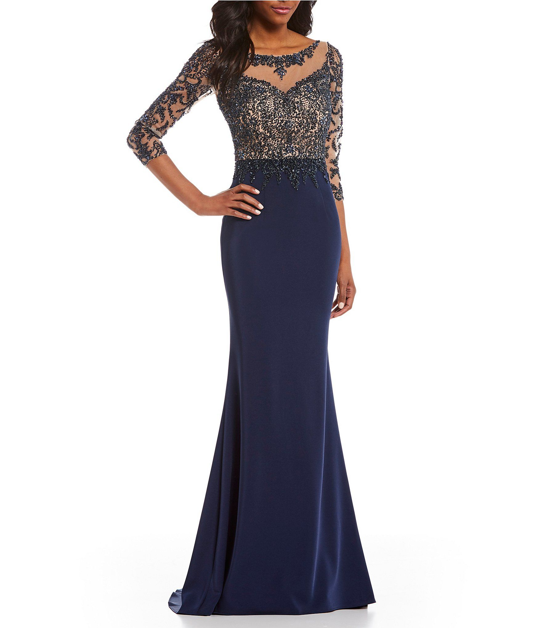 Shop For Terani Couture Illusion Lace 3 4 Sleeve Beaded Bodice Gown At Dillards Com Visit Dillards Com To Find Clothing Acces Gowns Dresses Mob Dresses Gowns [ 2040 x 1760 Pixel ]