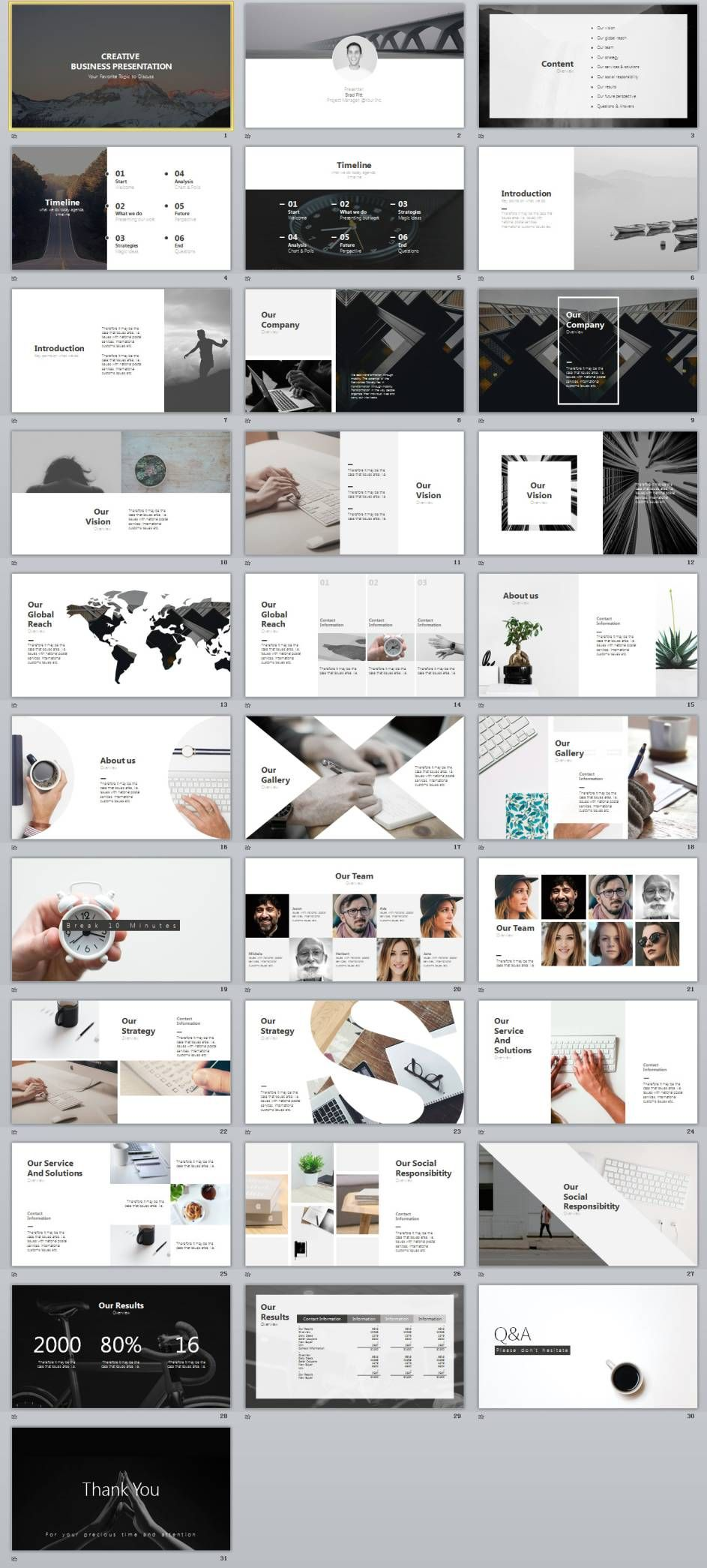 30+ gray creative business design PowerPoint templates | Business ...