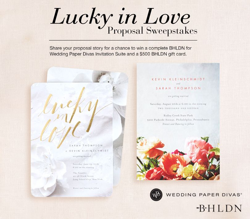 Share Your Proposal Story From A Chance To Win Your Dream Bhldn For Wedding Paper Divas Invitation Suite Wedding Paper Divas Wedding Stationery Wedding Deals