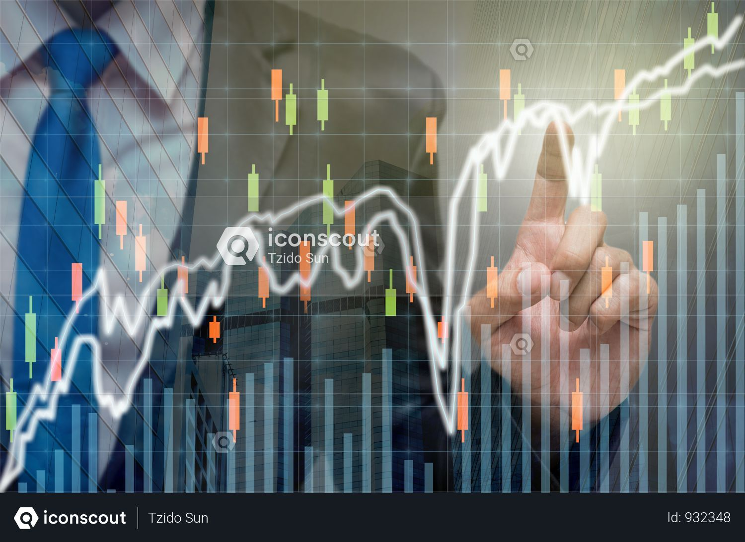 Premium Businessman Pointing The Trading Graph Of Stock Market On The Virtual Screen On Dark Background Photo Download In Png Jpg Format Stock Market Dark Backgrounds Graphing