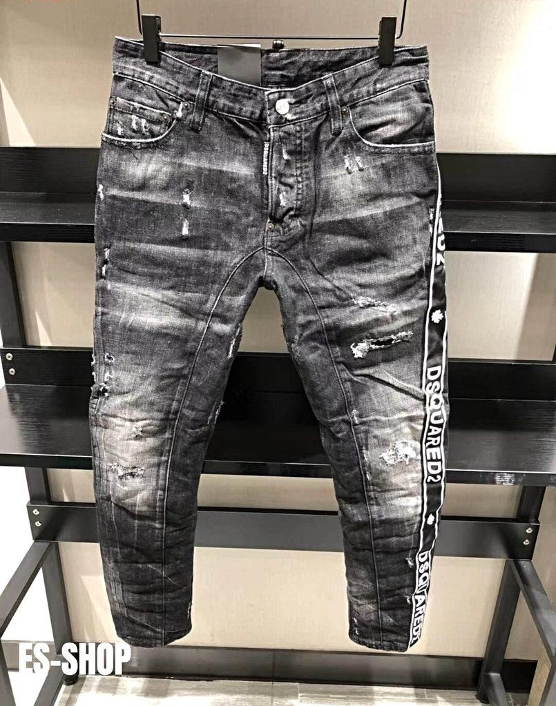 a3911794 DSQUARED2 ICON New Black Logo Stripe Washed Biker Jeans in 2019 ...