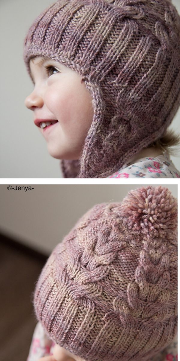Earflap Baby Hats Free Knitting Patterns. This Cabled hat ...