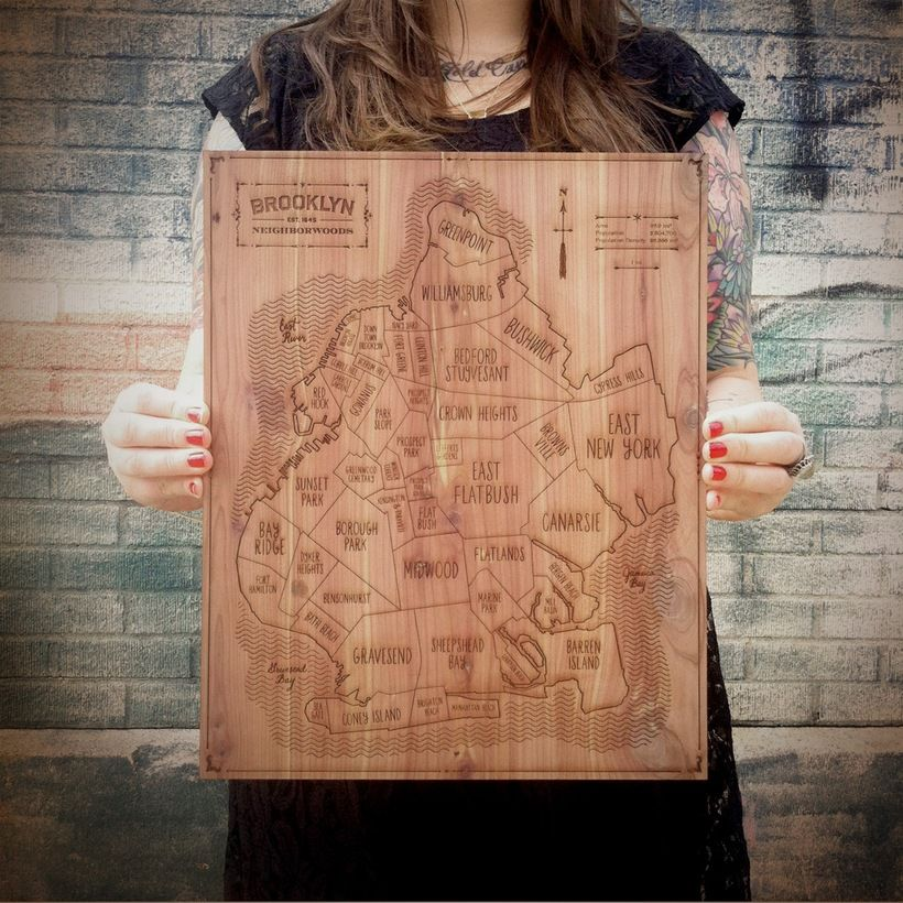 Hand-etched map of Brooklyn by Neighborwoods