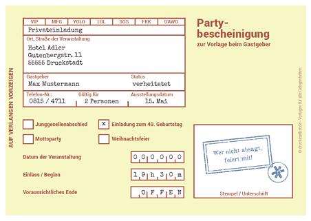 witzige einladung partybescheinigung | papier und karten, Einladung