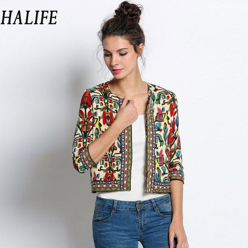 HALIFE Vintage Embroidered Bomber Jacket Women Floral Ethnic Style Jackets  Ladies Spring Autumn Fashion 3/