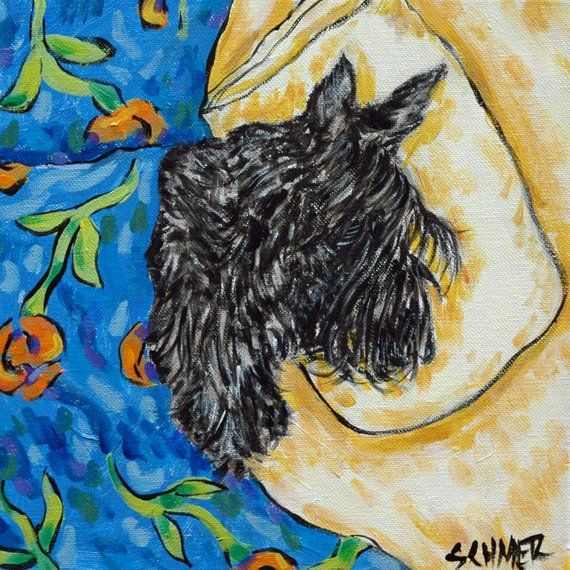 Scottish terrier 4x6 sogned art print angel dog glossy